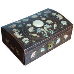 Very Rare, 17th Century Spa Mother of Pearl Writing Box with Inlaid Brass Wire