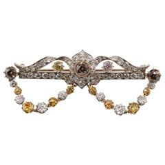 Very Rare Late Victorian Colored Diamond Brooch