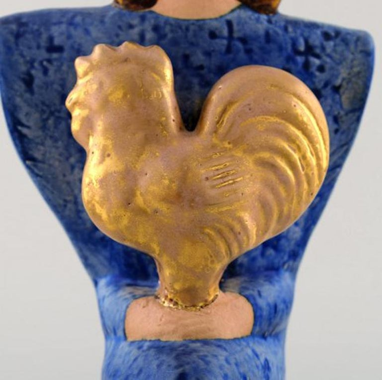 Scandinavian Modern Very Rare Lisa Larson Unique Figure of Sitting Woman in Blue with Golden Rooster For Sale