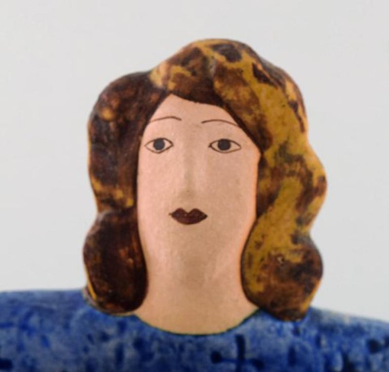 Swedish Very Rare Lisa Larson Unique Figure of Sitting Woman in Blue with Golden Rooster For Sale