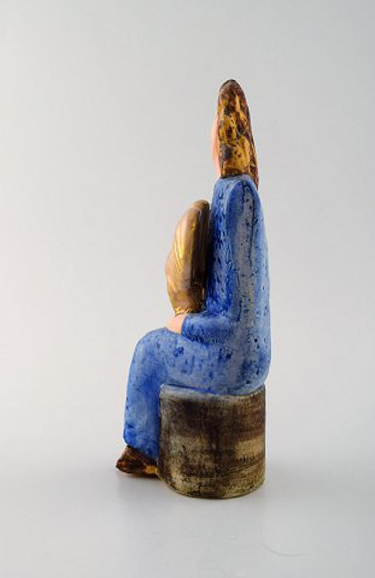 Very Rare Lisa Larson Unique Figure of Sitting Woman in Blue with Golden Rooster In Excellent Condition For Sale In Copenhagen, Denmark
