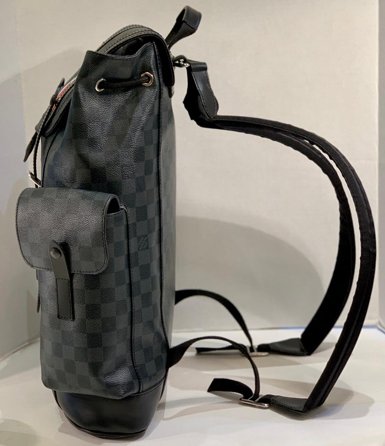 Women's or Men's Very Rare Louis Vuitton Special Edition Christopher PM Damier Graphite Backpack  For Sale