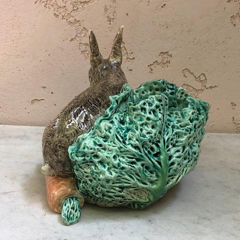 Rustic Very Rare Majolica Rabbit Cabbage Jardiniere Fives Lille, Circa 1890