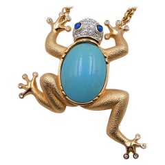 Very Rare Massive Frog Brooch and Necklace Christian Dior 1980's