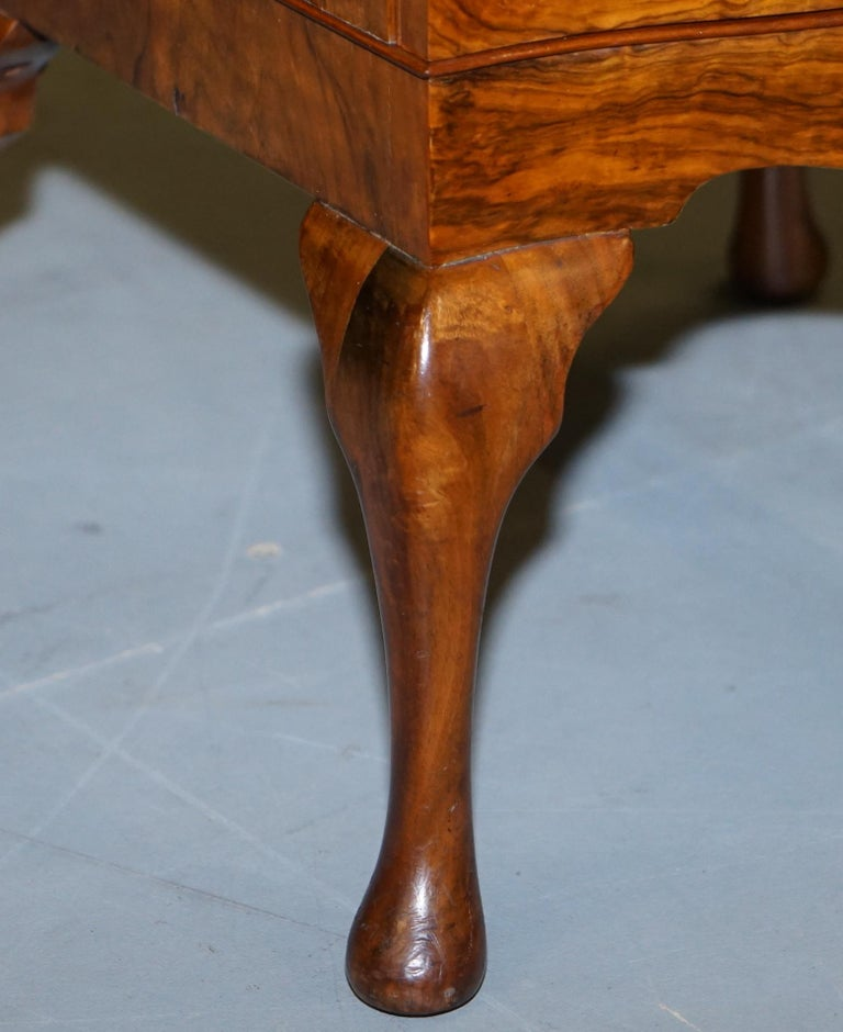 Very Rare Maurice Adams Art Deco Burr Walnut Bedside or Side End Lamp Wine Table For Sale 4