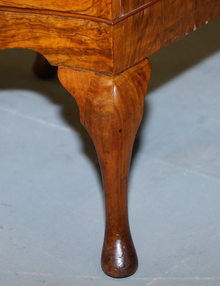 Very Rare Maurice Adams Art Deco Burr Walnut Bedside or Side End Lamp Wine Table For Sale 5