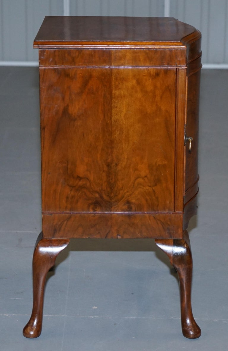 Very Rare Maurice Adams Art Deco Burr Walnut Bedside or Side End Lamp Wine Table For Sale 6