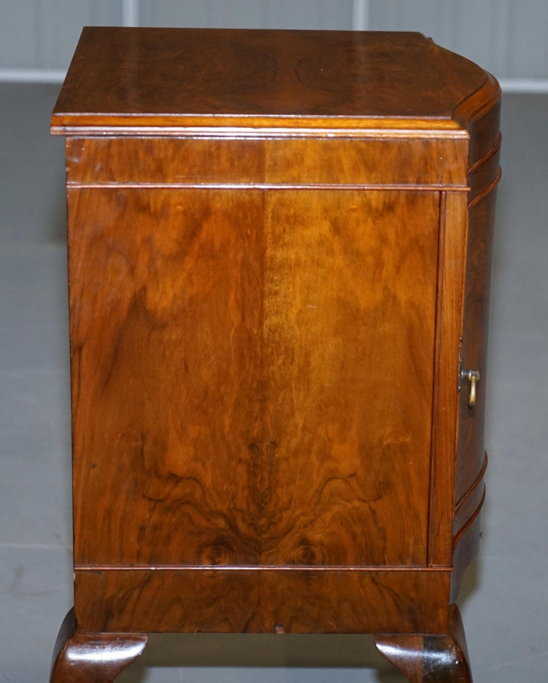 Very Rare Maurice Adams Art Deco Burr Walnut Bedside or Side End Lamp Wine Table For Sale 7