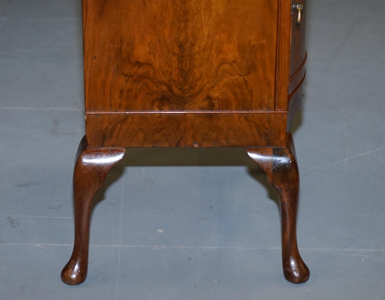 Very Rare Maurice Adams Art Deco Burr Walnut Bedside or Side End Lamp Wine Table For Sale 8