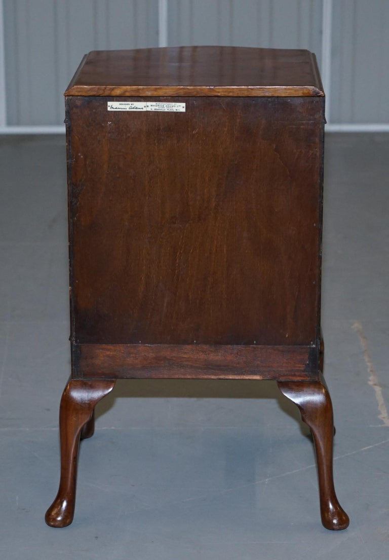 Very Rare Maurice Adams Art Deco Burr Walnut Bedside or Side End Lamp Wine Table For Sale 9