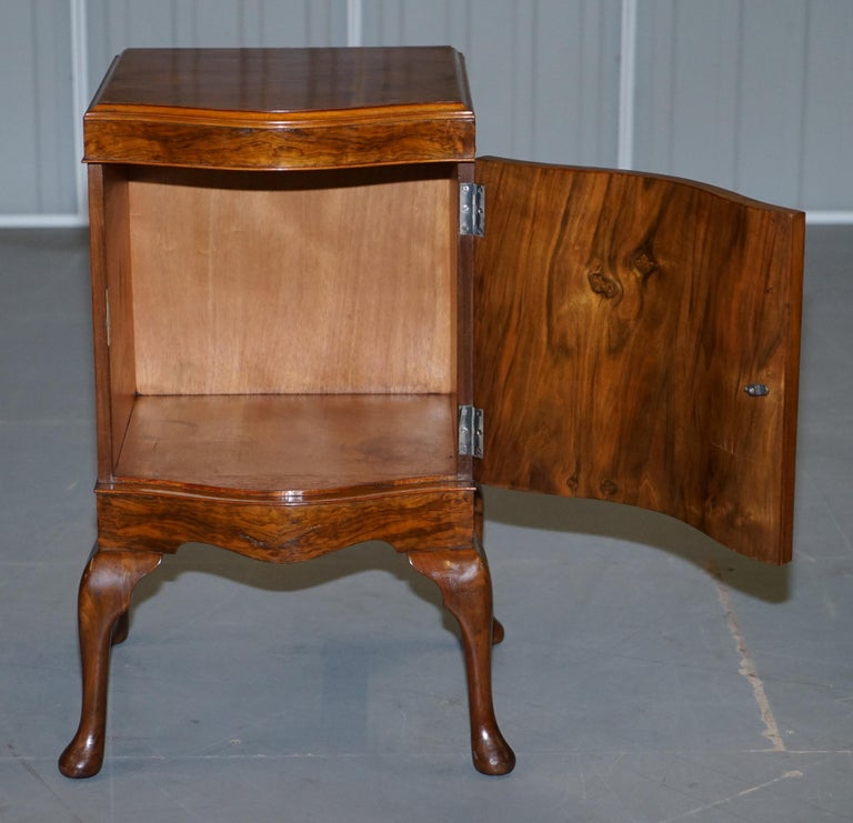 Very Rare Maurice Adams Art Deco Burr Walnut Bedside or Side End Lamp Wine Table For Sale 11