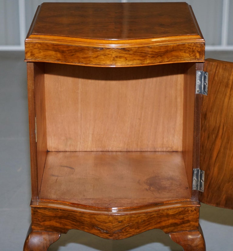 Very Rare Maurice Adams Art Deco Burr Walnut Bedside or Side End Lamp Wine Table For Sale 12