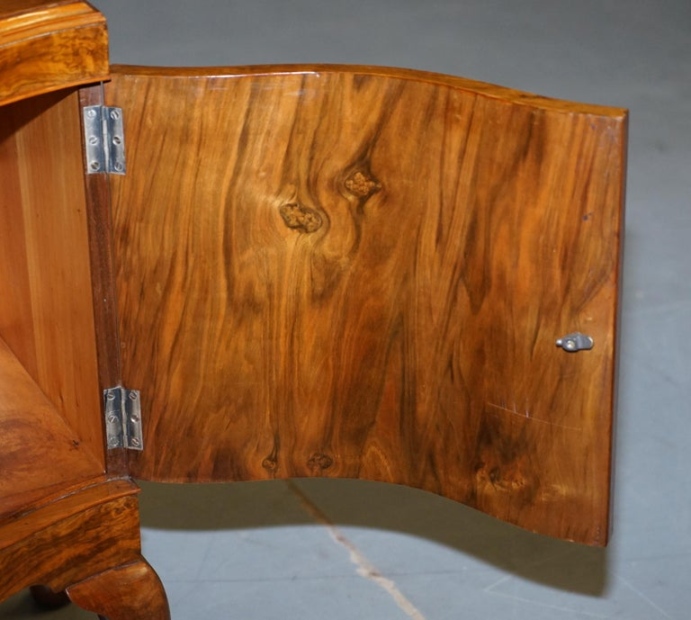 Very Rare Maurice Adams Art Deco Burr Walnut Bedside or Side End Lamp Wine Table For Sale 13