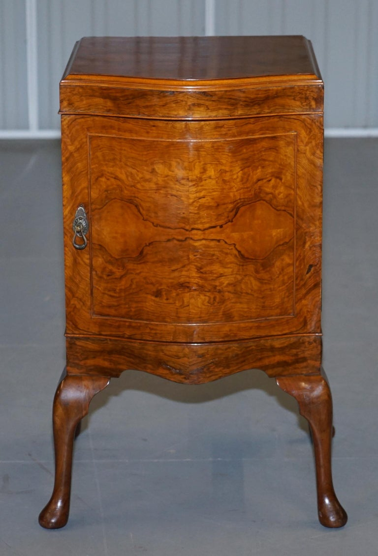 English Very Rare Maurice Adams Art Deco Burr Walnut Bedside or Side End Lamp Wine Table For Sale