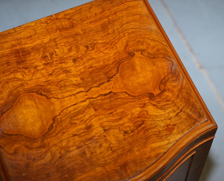 20th Century Very Rare Maurice Adams Art Deco Burr Walnut Bedside or Side End Lamp Wine Table For Sale