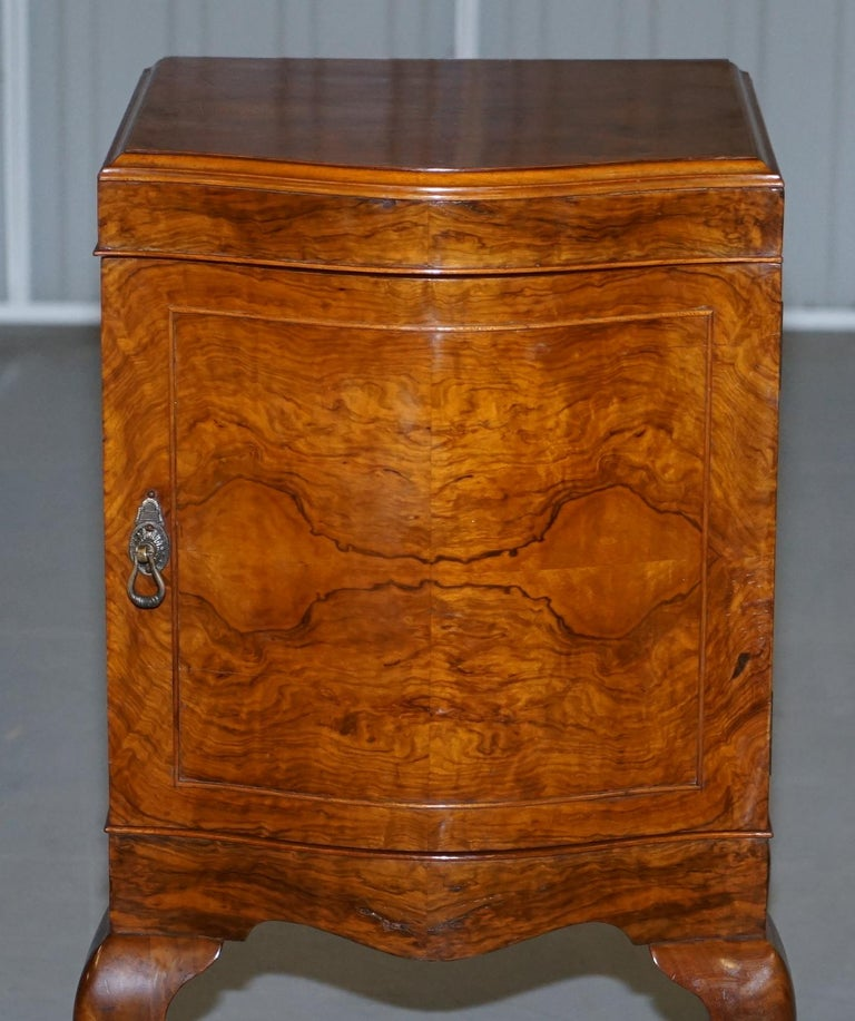 Very Rare Maurice Adams Art Deco Burr Walnut Bedside or Side End Lamp Wine Table For Sale 1