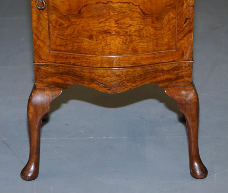 Very Rare Maurice Adams Art Deco Burr Walnut Bedside or Side End Lamp Wine Table For Sale 3