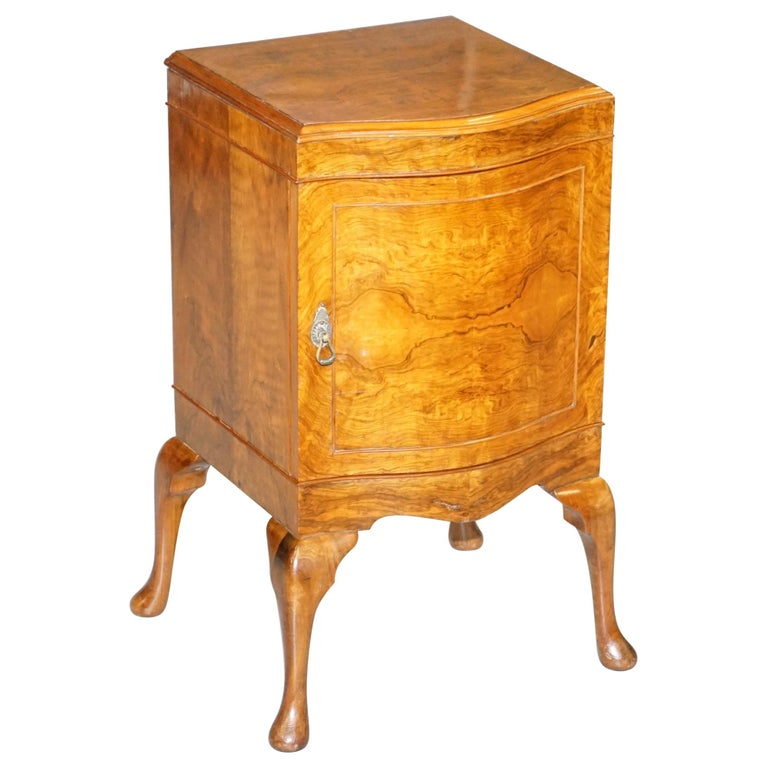 Very Rare Maurice Adams Art Deco Burr Walnut Bedside or Side End Lamp Wine Table For Sale