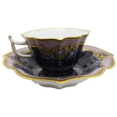 Very rare Meissen Porcelain mocca set in cobalt blue with rich gold and Limoges