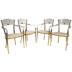 Very Rare Mid-Century Modern Set of 4 Lucite Armchairs Chairs w. Leather Seats