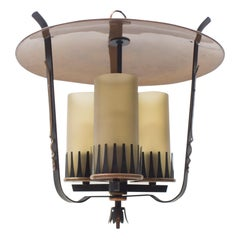 Very Rare Midcentury Pendant Lamp in Copper and Satinized Cylindrical Glass