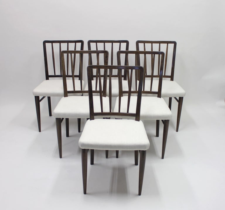 Very rare set of six chairs, Model O.K. designed by Axel Einar Hjorth for Nordiska Kompaniet in 1936. This model was displayed at Hjorths last exhibition he did as the head of design at the firm. The exhibition was called
