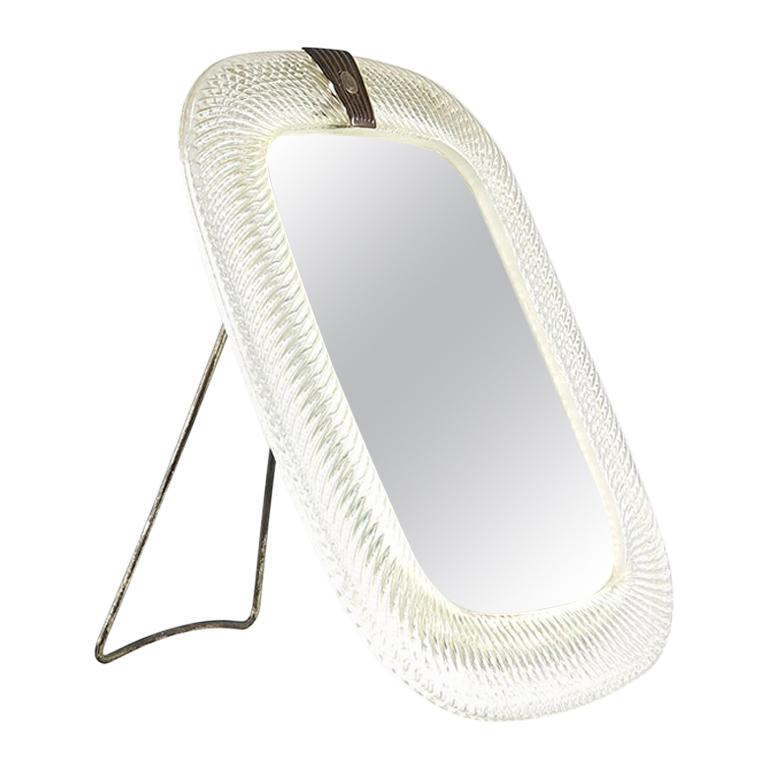 Very Rare Murano Wall Table Mirror Attributed to Venini For Sale