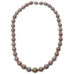 """Very Rare Natural Color Pearl Necklace 10-13MM Diamond Encrusted Rondelles 20"""""""
