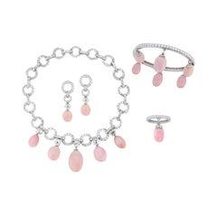 Very Rare Natural Conch Pearl & Diamond Set by Lorenz Baumer