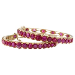 Very Rare No Heat 36+ Carat Burma Rubies Pair of Bracelets