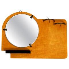 Very Rare Original 1930s Art Deco Wall Mirror and Key Rack Made of Plywood