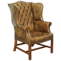 Very Rare Original 1930s Chesterfield Fully Buttoned Leather Wingback Armchair