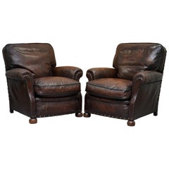 Very Rare Original French circa 1880 Brown Leather Club Armchairs Hand Dyed