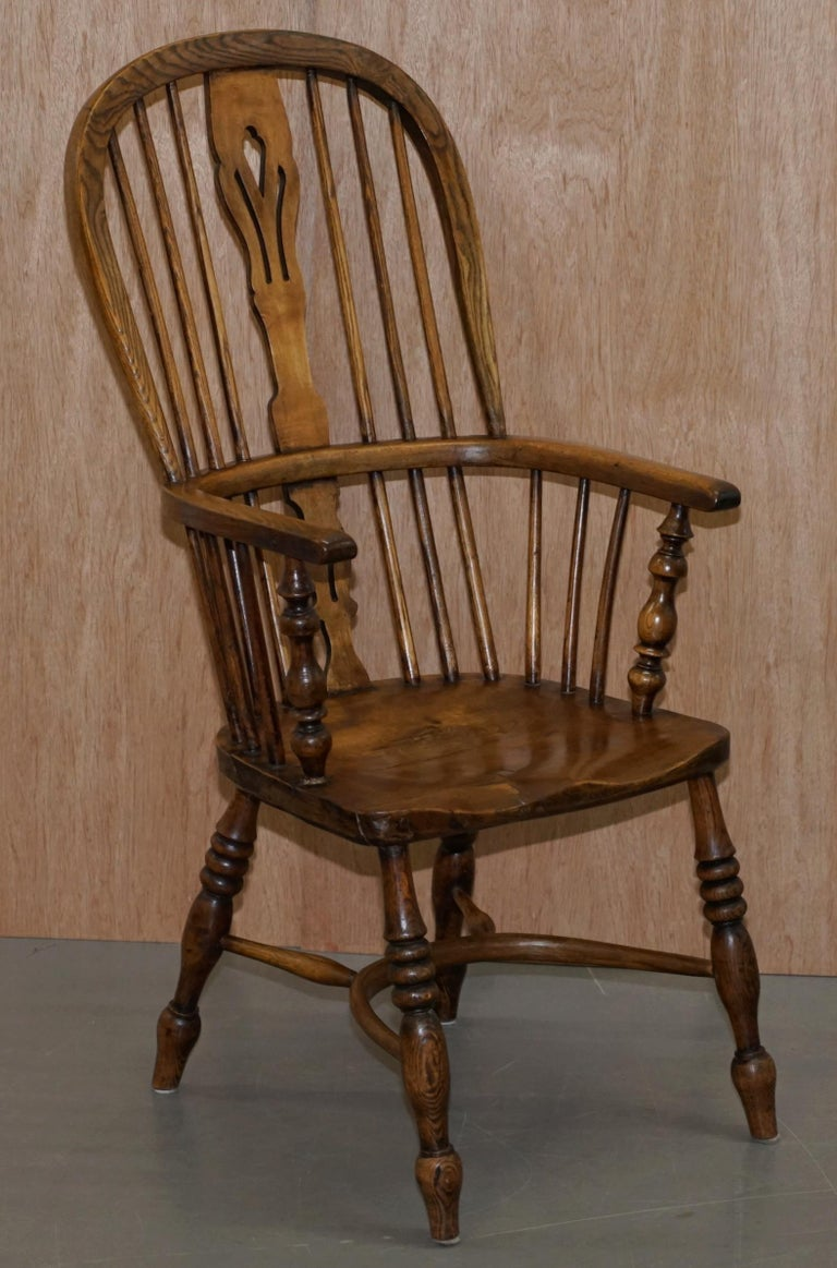 Very Rare Original Set of Eight circa 1860 English Windsor Armchairs Elm & Ash 8 For Sale 8