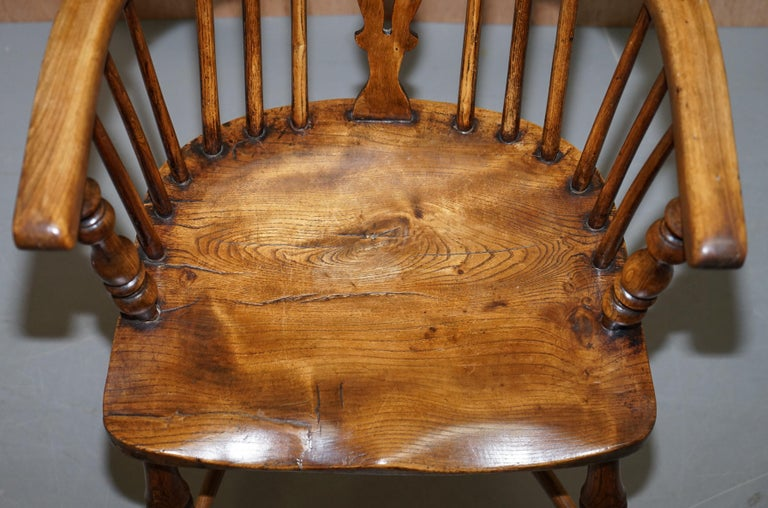 Very Rare Original Set of Eight circa 1860 English Windsor Armchairs Elm & Ash 8 For Sale 9