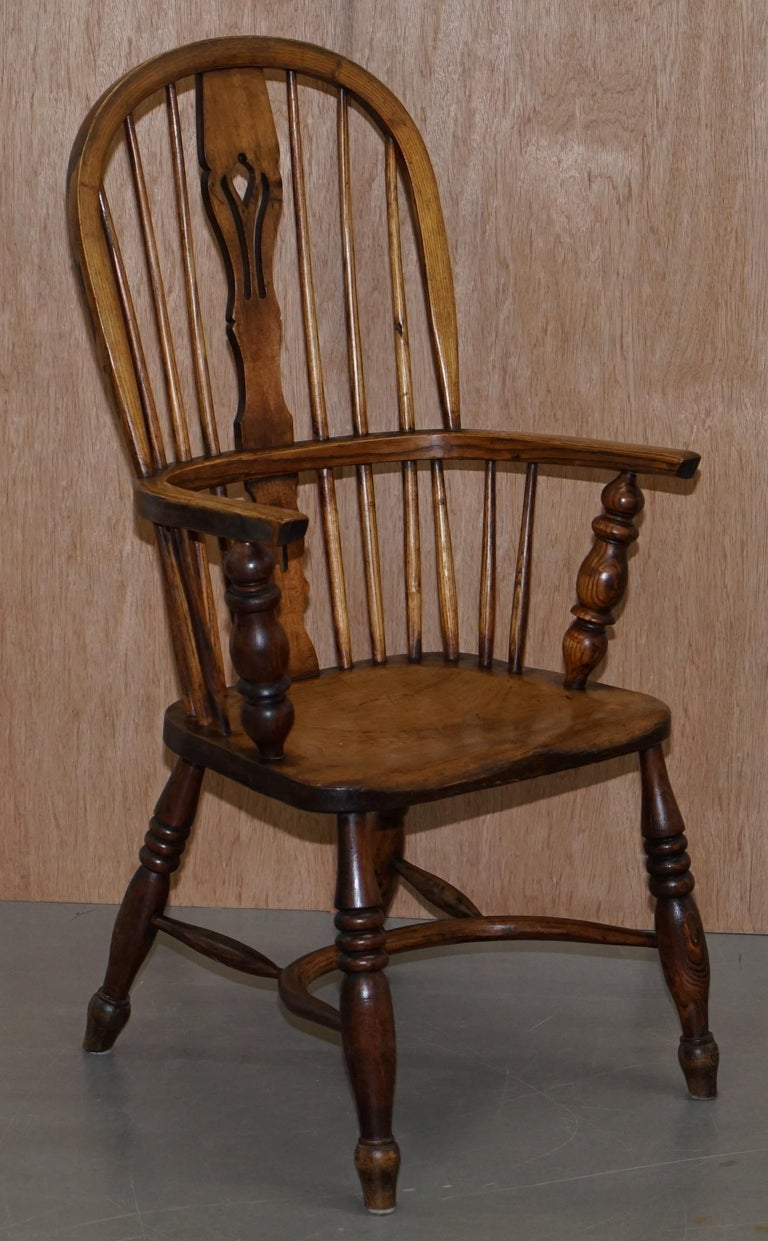 Very Rare Original Set of Eight circa 1860 English Windsor Armchairs Elm & Ash 8 For Sale 10