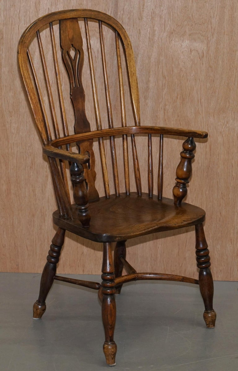 Very Rare Original Set of Eight circa 1860 English Windsor Armchairs Elm & Ash 8 For Sale 12