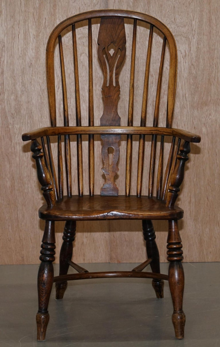 Victorian Very Rare Original Set of Eight circa 1860 English Windsor Armchairs Elm & Ash 8 For Sale