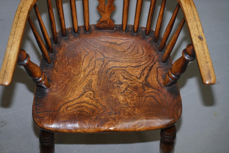 Hand-Crafted Very Rare Original Set of Eight circa 1860 English Windsor Armchairs Elm & Ash 8 For Sale