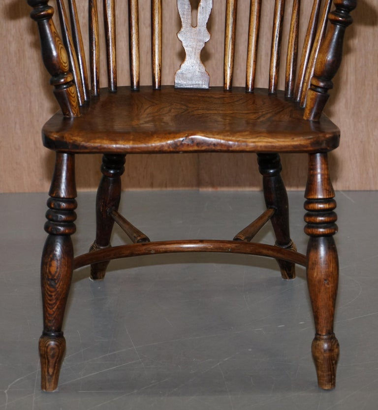 Very Rare Original Set of Eight circa 1860 English Windsor Armchairs Elm & Ash 8 For Sale 1