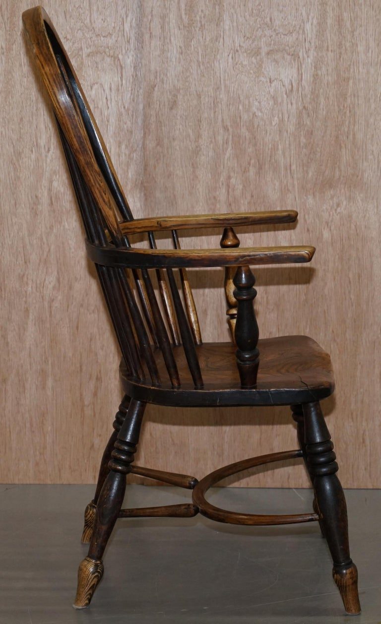 Very Rare Original Set of Eight circa 1860 English Windsor Armchairs Elm & Ash 8 For Sale 3