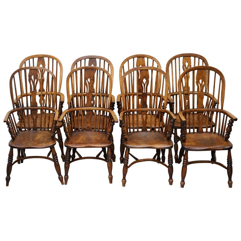 Very Rare Original Set of Eight circa 1860 English Windsor Armchairs Elm & Ash 8 For Sale