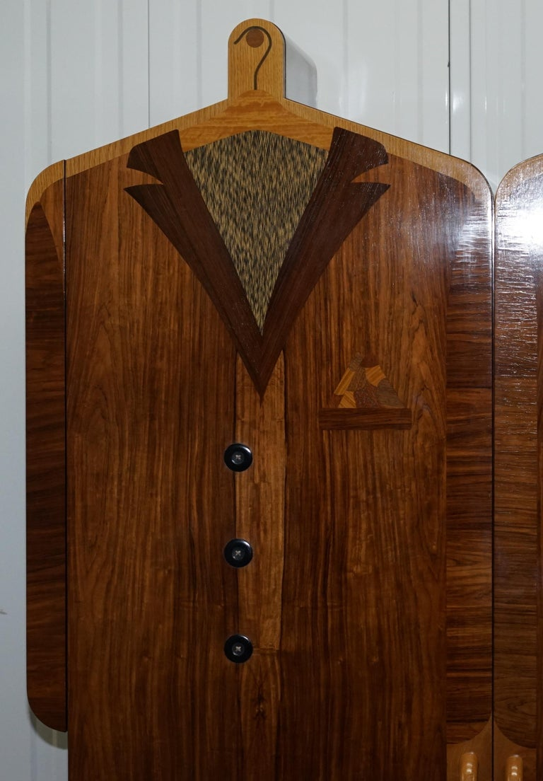 Very Rare Original Signed Dated 1989 Andrew Varah Umbrella Men Rarewood Wardrobe For Sale 5