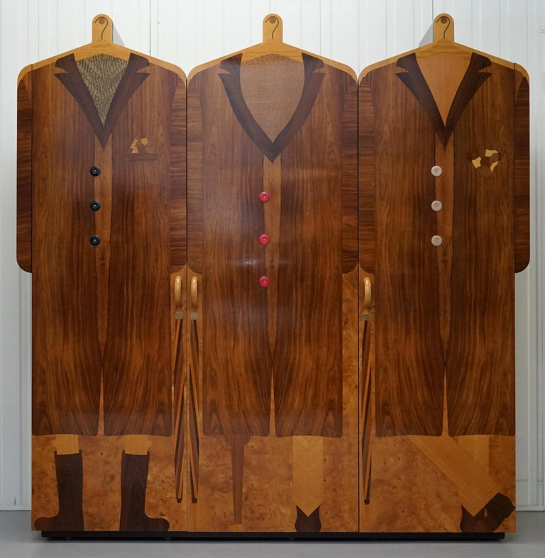 Modern Very Rare Original Signed Dated 1989 Andrew Varah Umbrella Men Rarewood Wardrobe For Sale