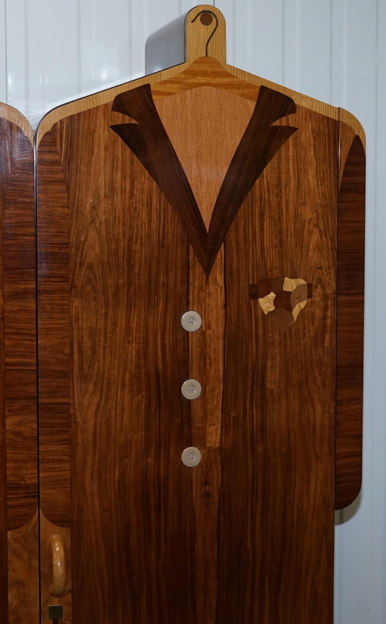 Late 20th Century Very Rare Original Signed Dated 1989 Andrew Varah Umbrella Men Rarewood Wardrobe For Sale