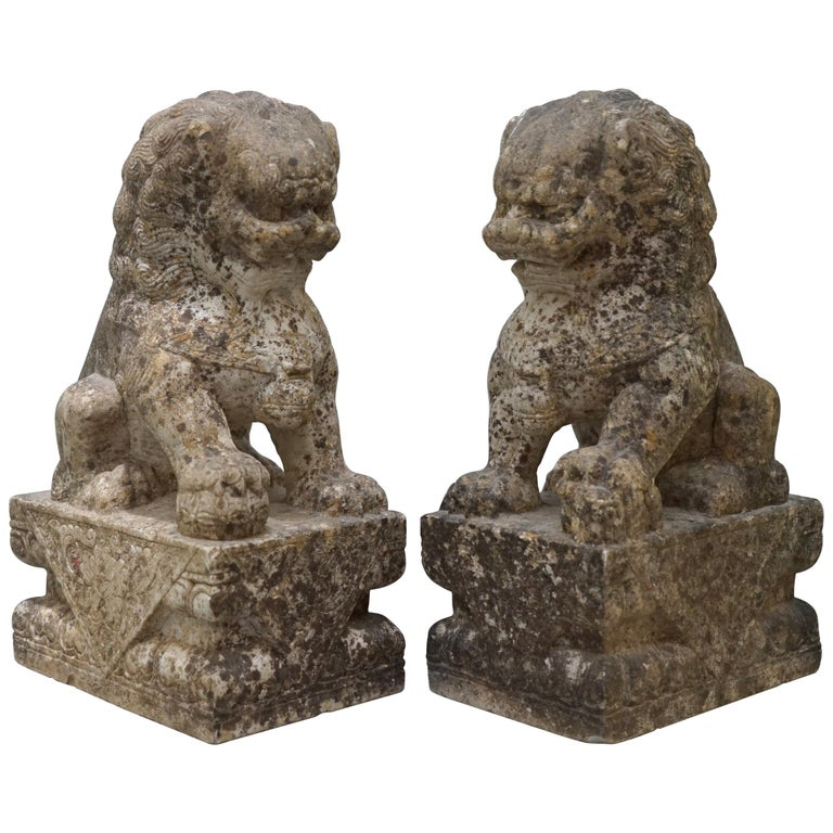Very Rare Pair of 18th Century Chinese Marble Temple Lion Guardians Foo Dogs For Sale