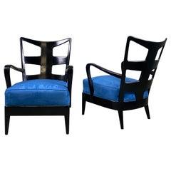 Very Rare Pair of armchairs Lacquered Walnut Edition Arredamento Borsani, Varedo