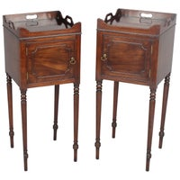 Very Rare Pair of George III Period Mahogany Bedside Pot-Cupboards