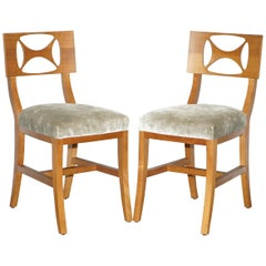 Very Rare Pair of Hermes Paris Cherrywood Chairs Luxury Premium