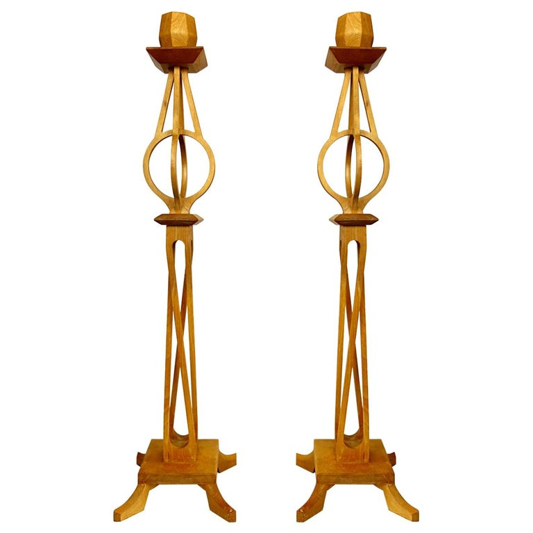 Very Rare Pair of High Mid-Century Wooden Candlesticks by Selma Helmer Loberg For Sale